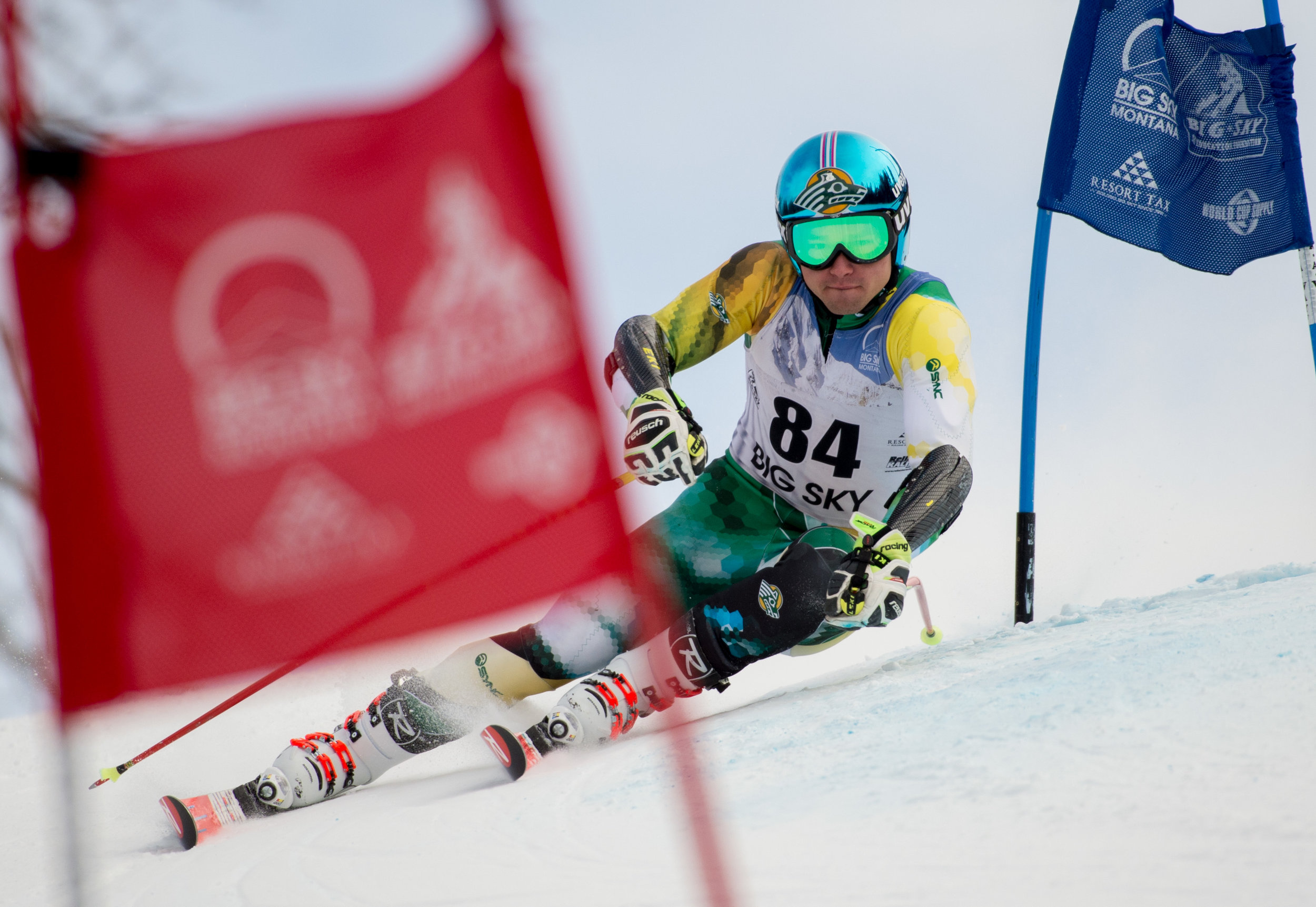 University of Alaska-Anchorage ski racer Martins Onskulis turns a gate during the first run of the mens giant slalom race in the Montana State University FIS Invitational Big Sky Resort on Sunday, Jan. 07, 2018