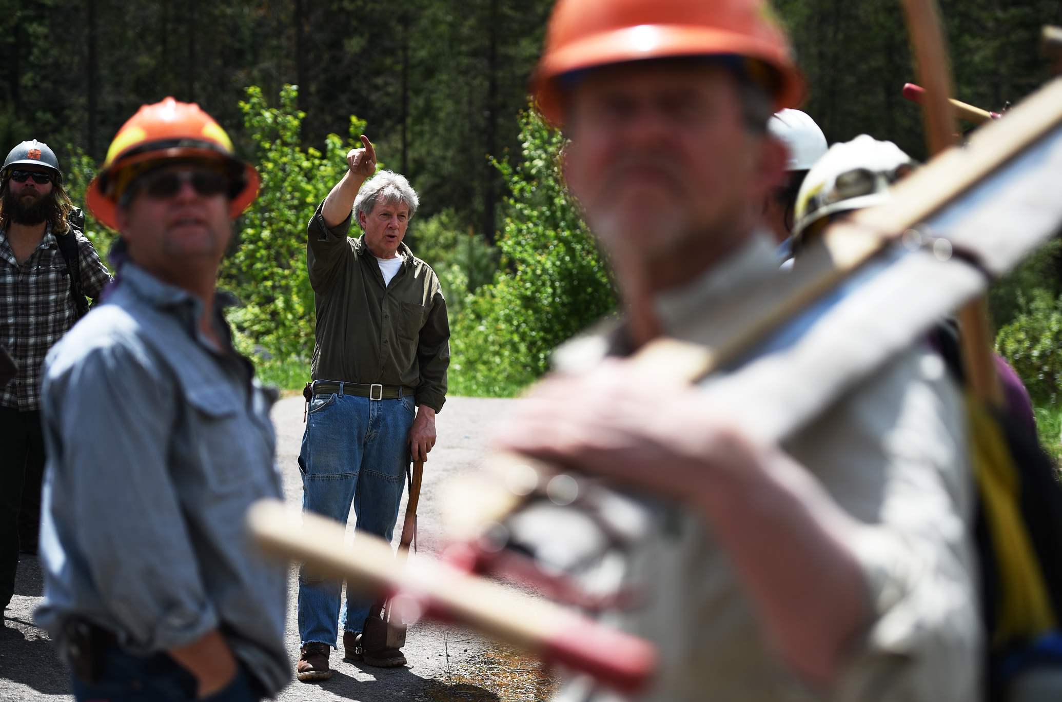 Bob Beckley, center, gives a lecture to the students of the traditional skills course prior to the start of their first field outing recently in the Nez Perce - Clearwater National Forest in Idaho.