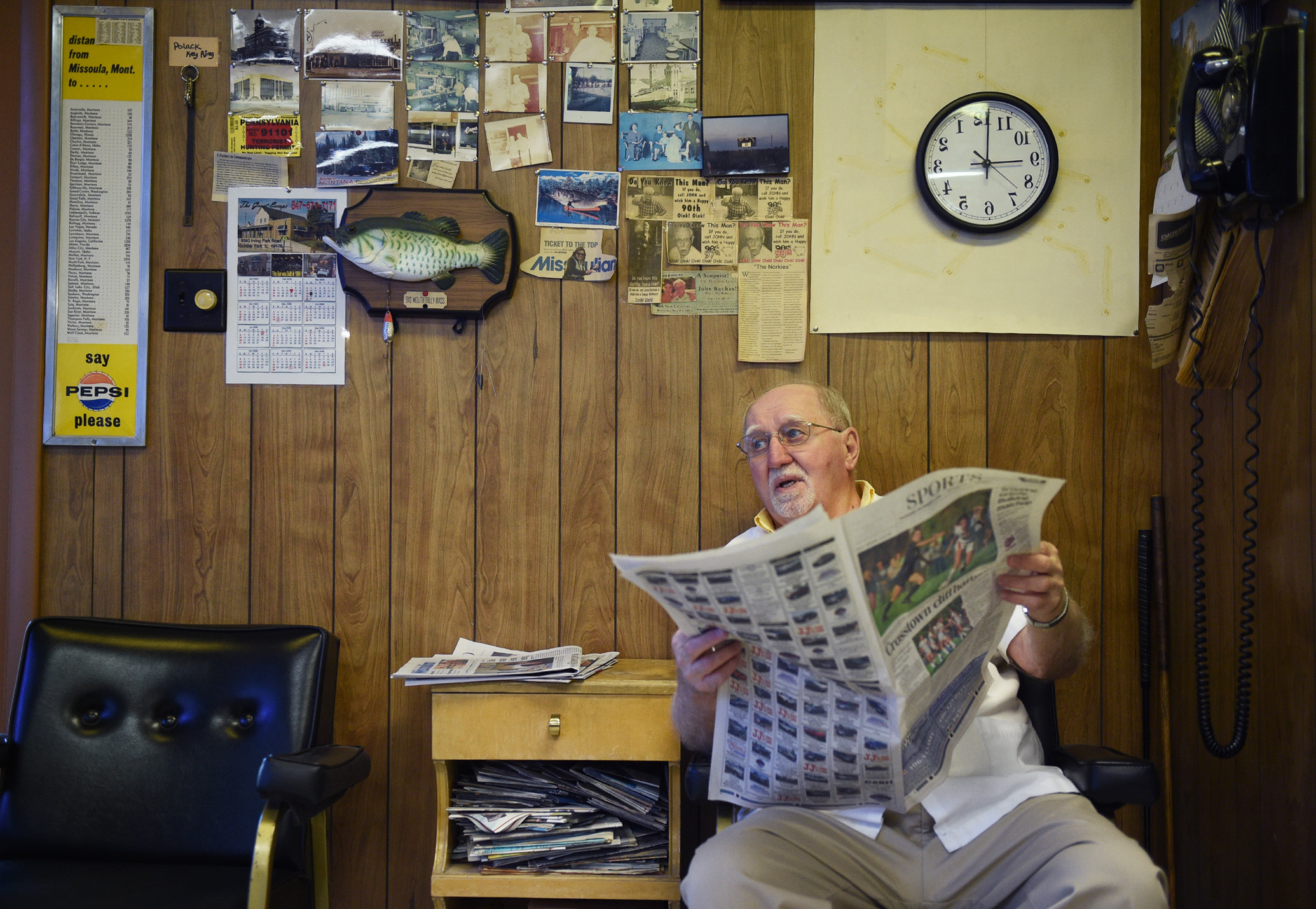 "Boldizar looks up from the sports section to watch someone walk by the shop. Between customers he reads the paper or watches sports on the old TV in the corner. Equating owning a barber shop to fishing, ""You just gotta wait for em' to come along"" he says."