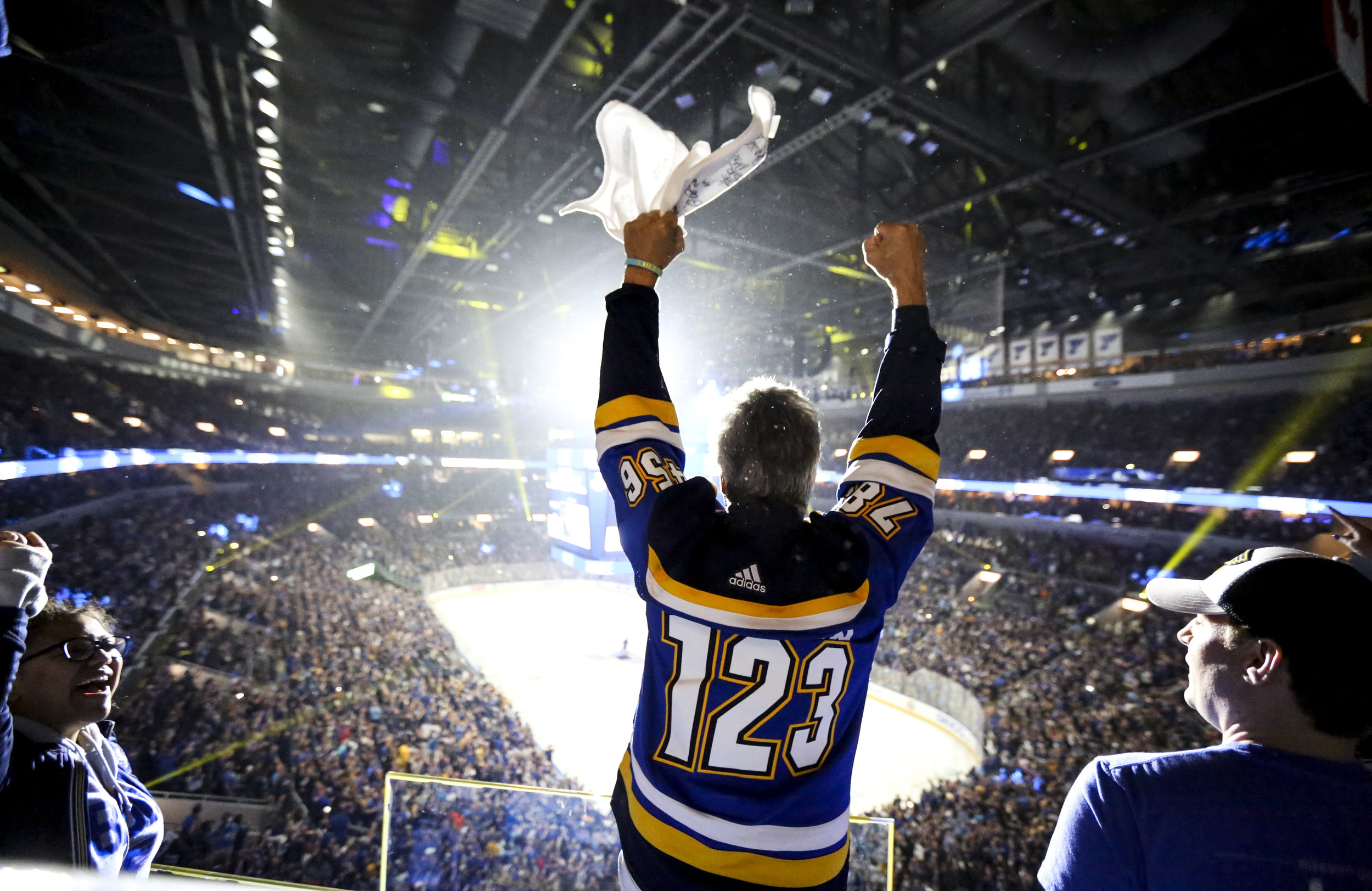 Ron Baechle AKA Towel Man stands in the spotlight after the Blues score their third goal of the night during the Stanley Cup Final Game 7 watch party on Wednesday, June 12, 2019 at the Enterprise Center.