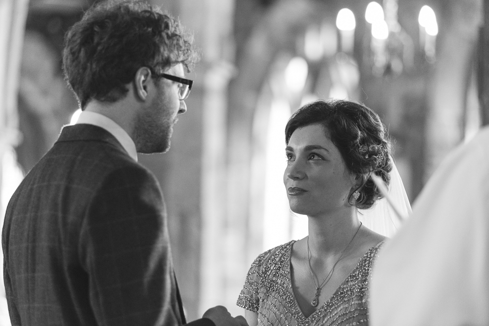 Couple giving vows in St Michael's Church Croston Lancashire
