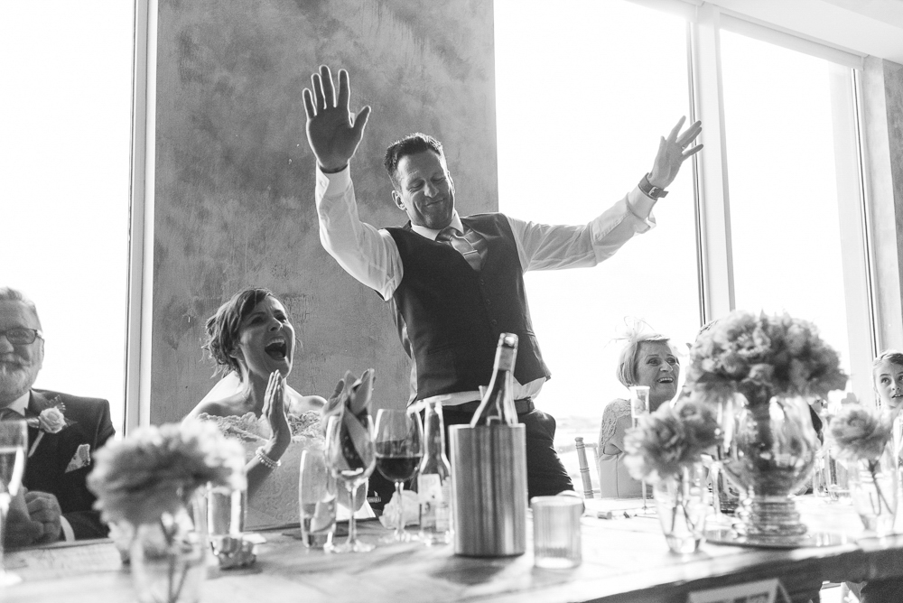 Groom gives a dramatic speech in Salford's Media City