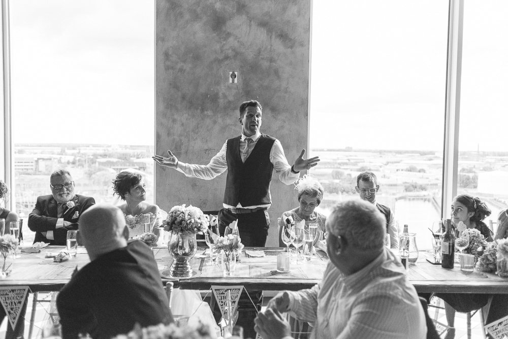 Groom gives a speech in Media City Salford. Wedding Photography Salford