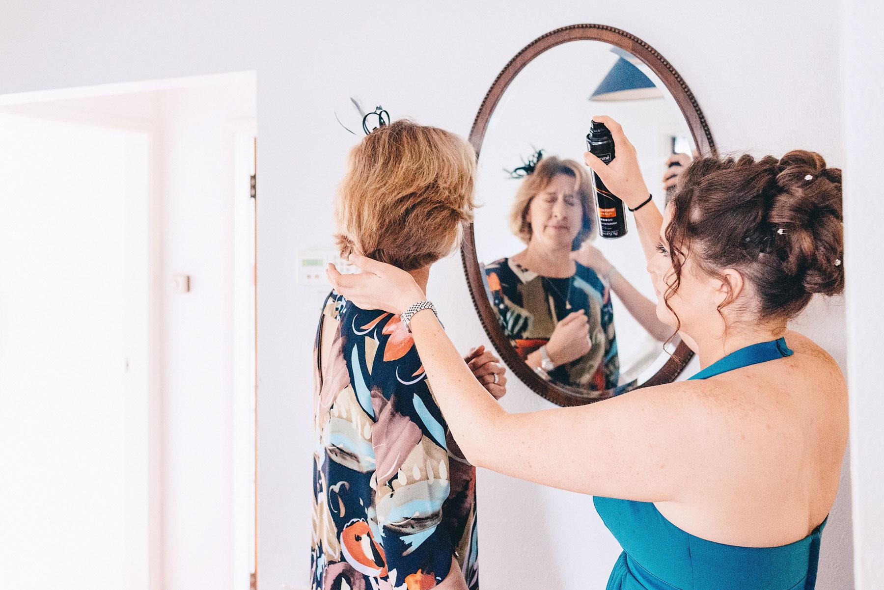 Wedding party getting hair ready