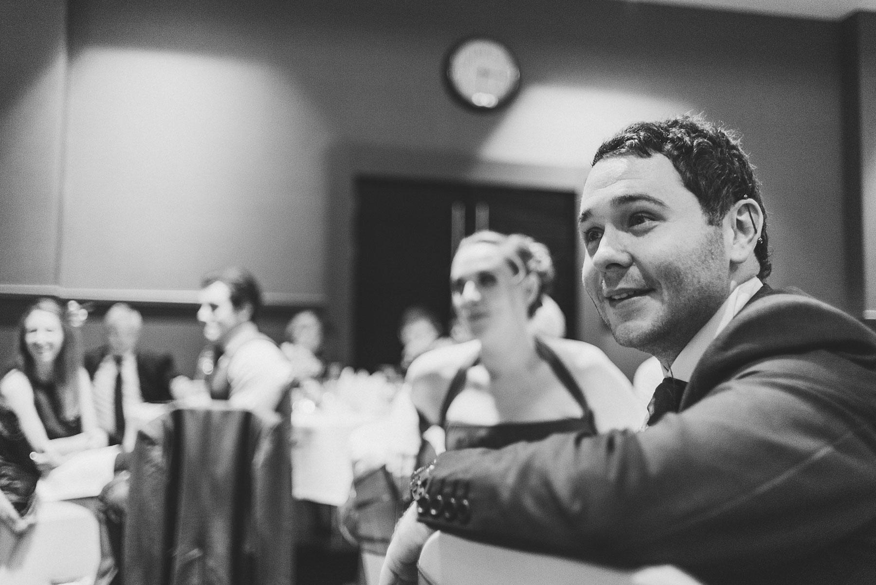 Wedding guest enjoys speech
