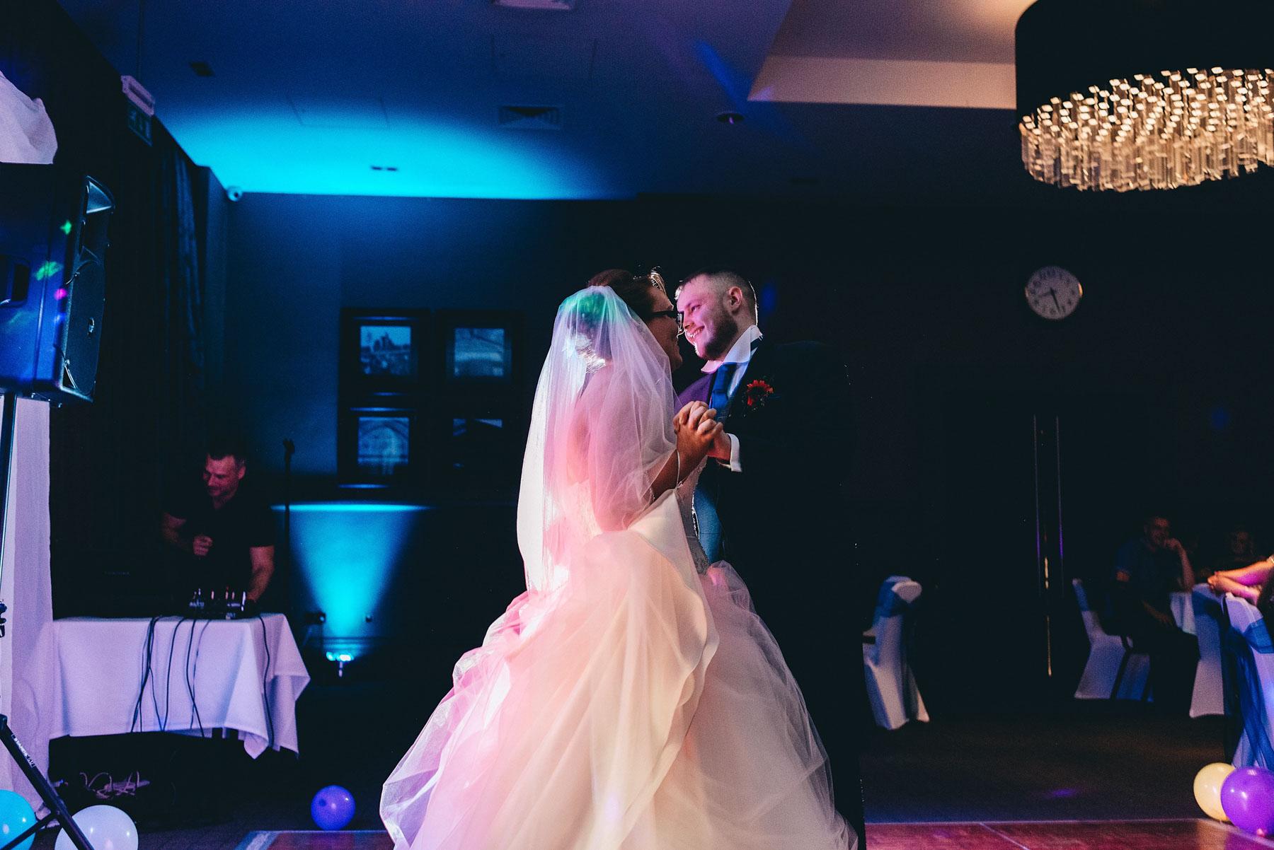 First dance during wedding reception at Village hotel Ashton