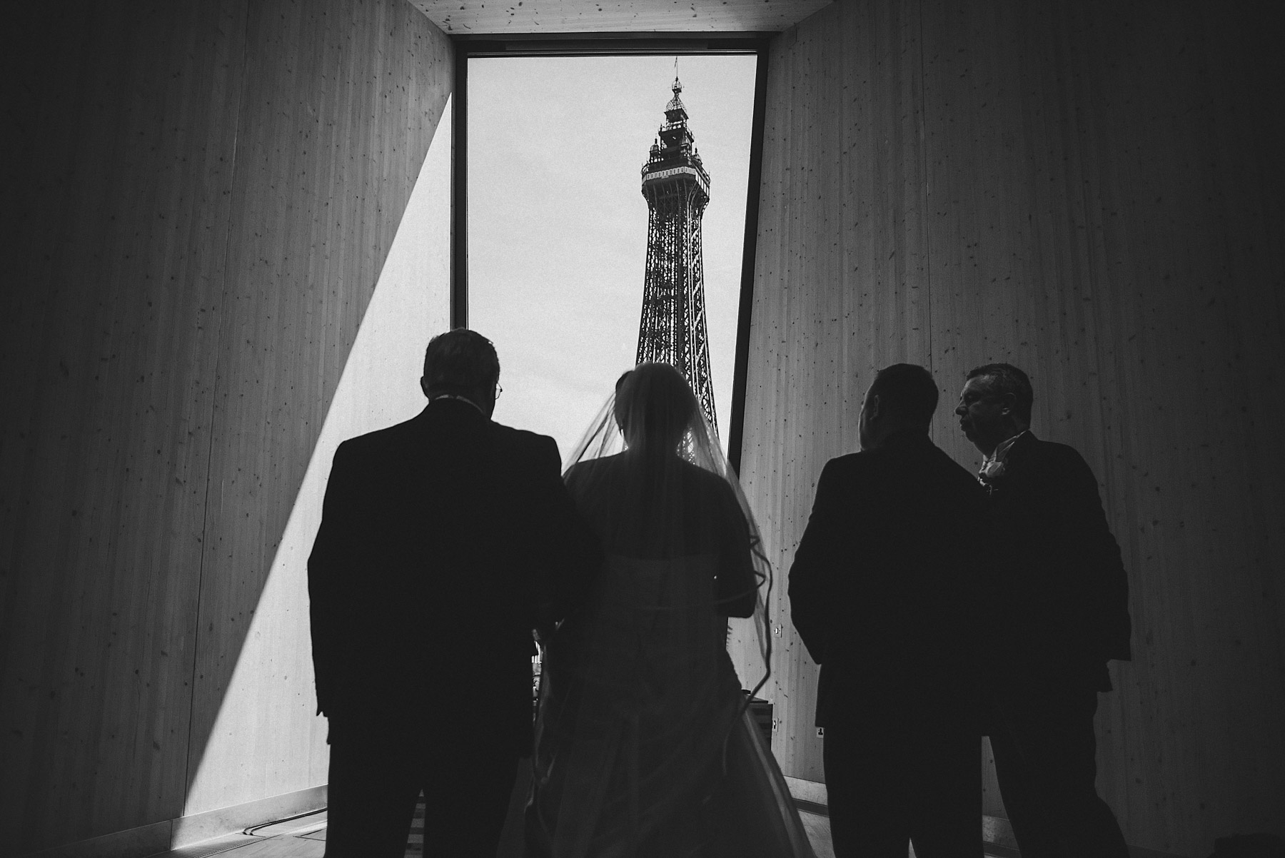 Wedding ceremony with Blackpool tower in the background