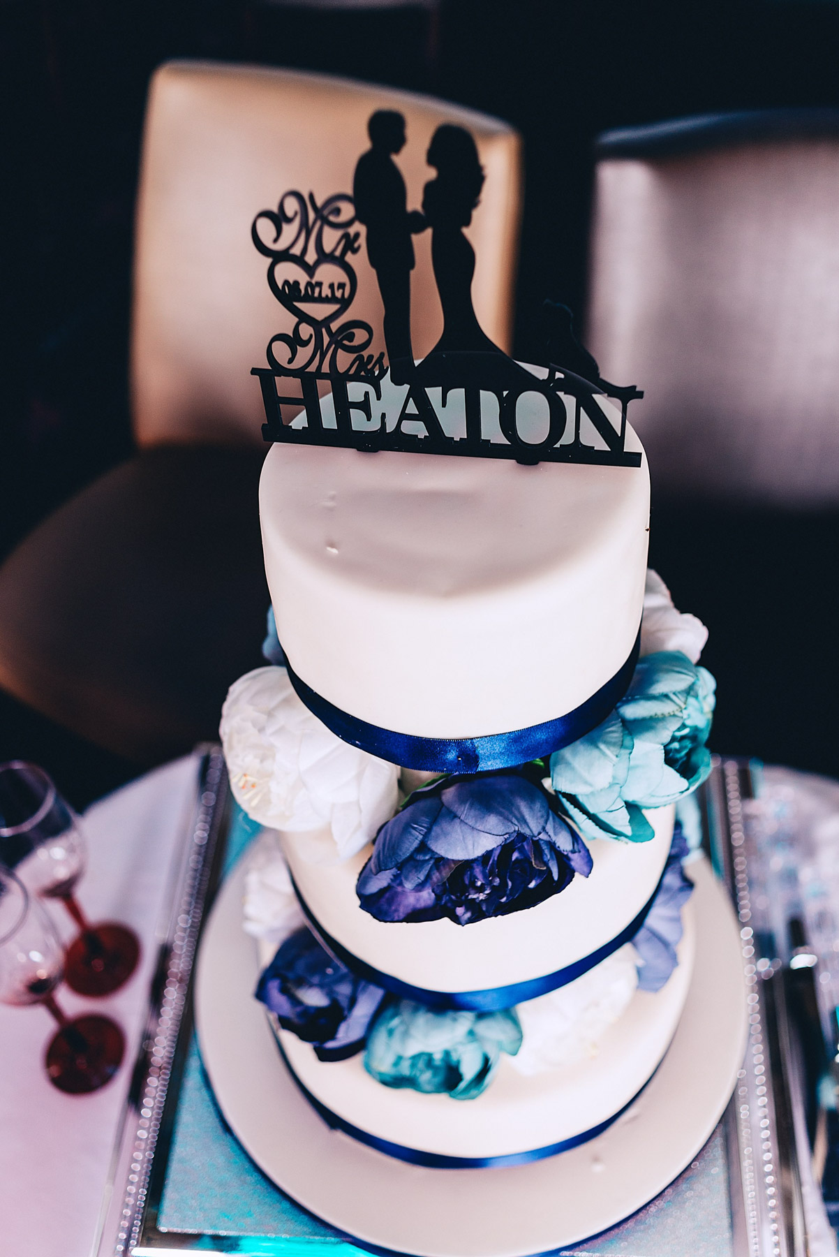 Wedding cake with couples name on the top