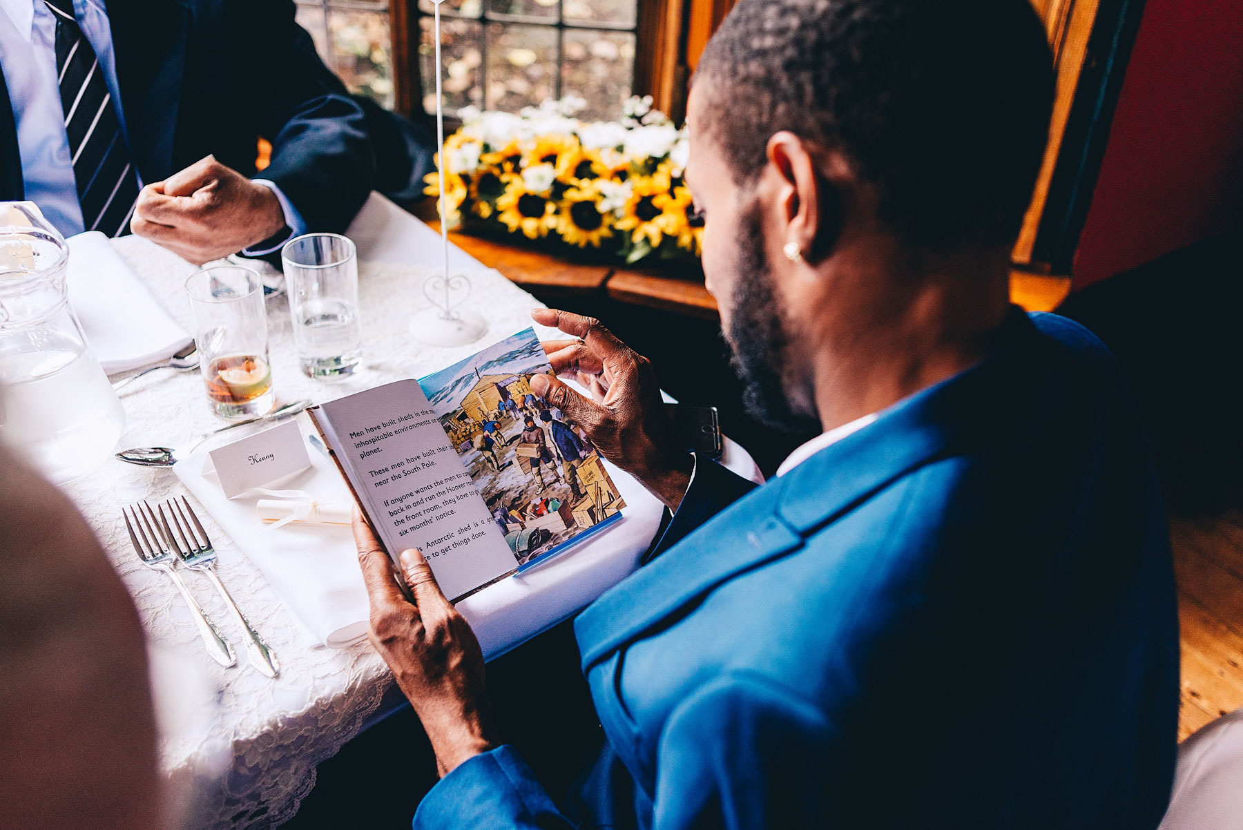 Wedding guest reading book