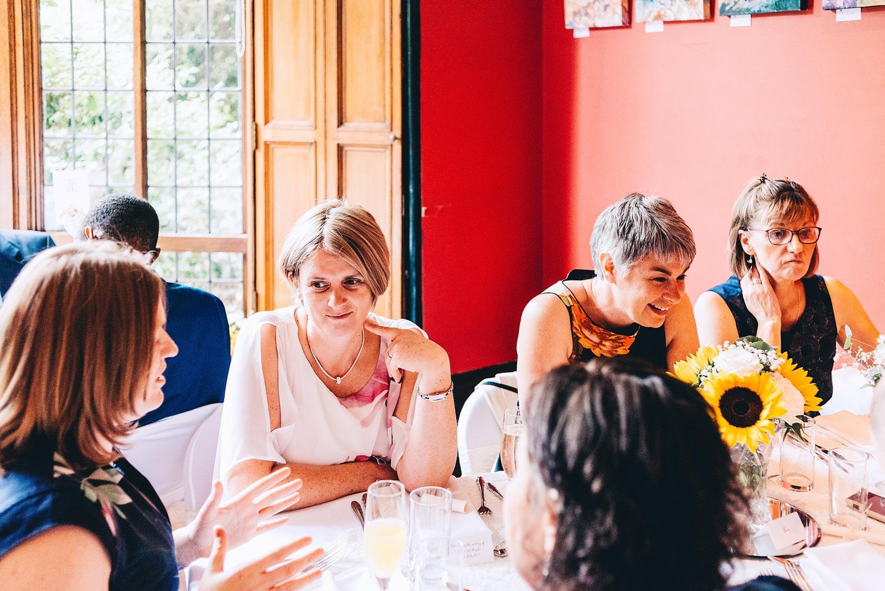 Wedding guests talk