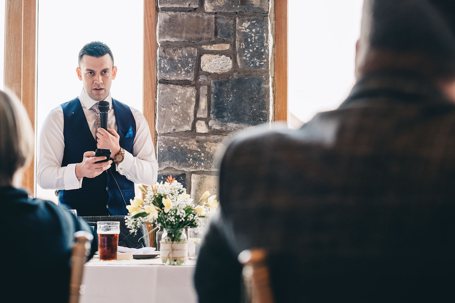 Groom gives his wedding speech
