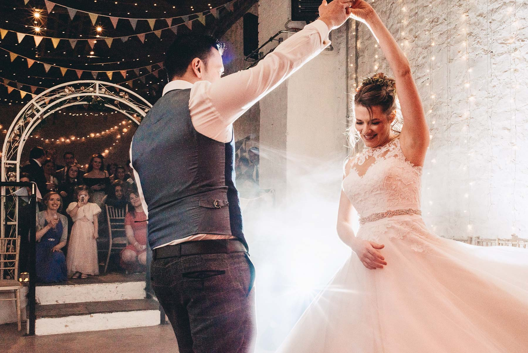 Groom spins the Bride at the first dance