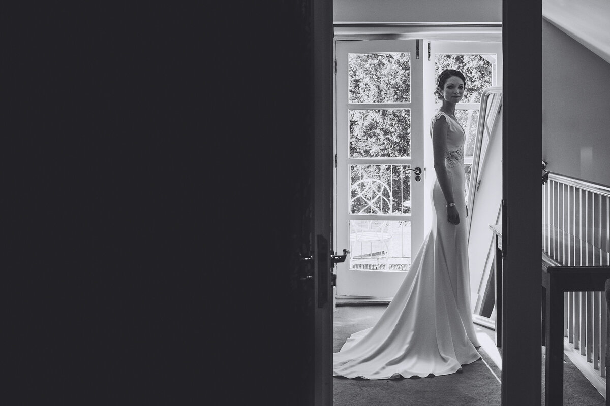 Bride looks elegant in the morning of her wedding
