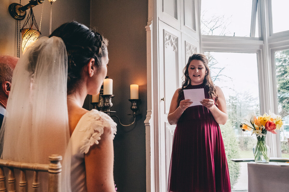 Bridesmaid gives speech during wedding