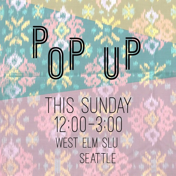 Come see us this Sunday from noon to 3:00 @westelmseattle  We're bringing pillows, throws, dog bandanas and some new dolls made from our textile scraps. Hope to see you there!