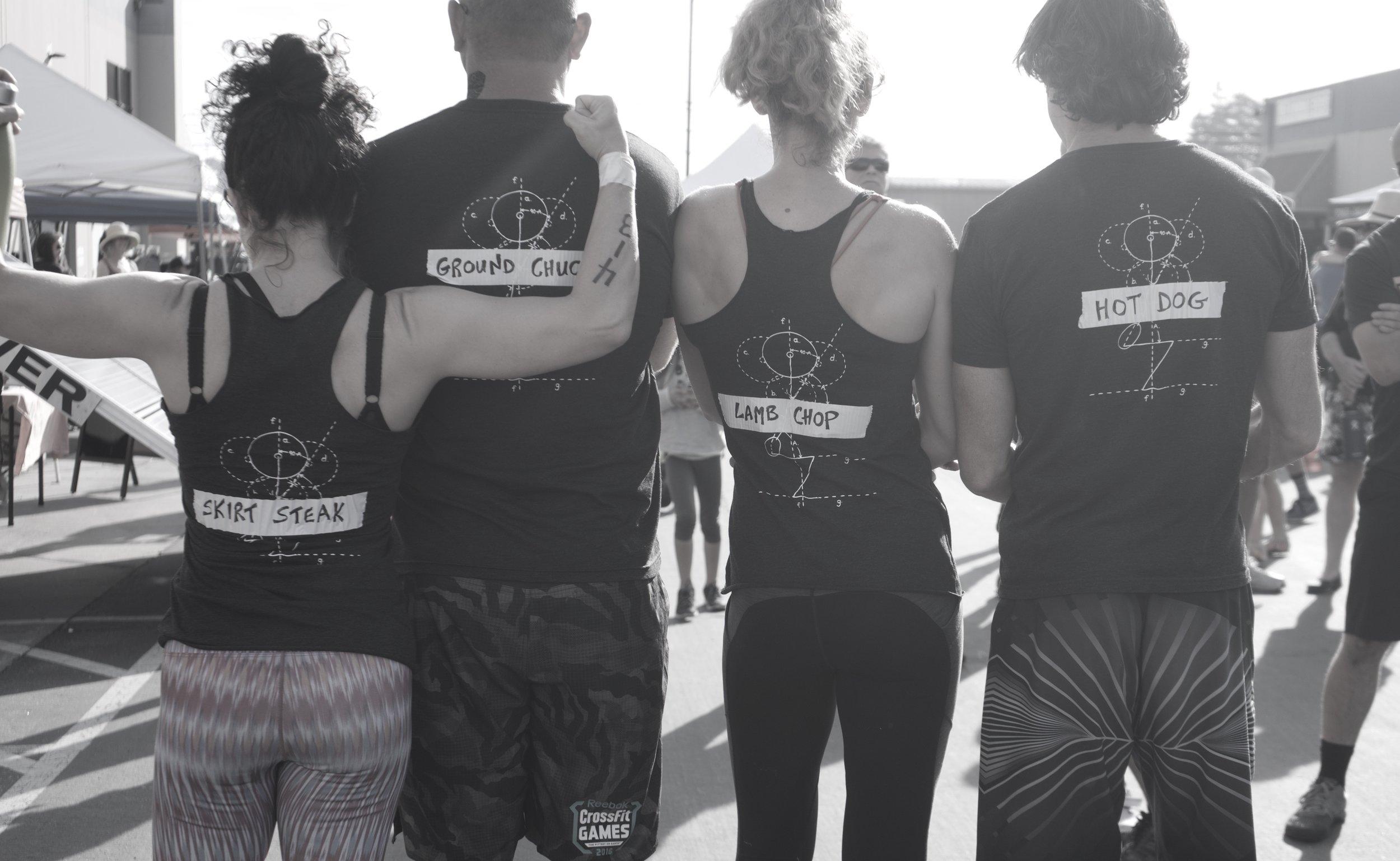 CrossFit Santa Cruz's Master team with their creative team uniforms!