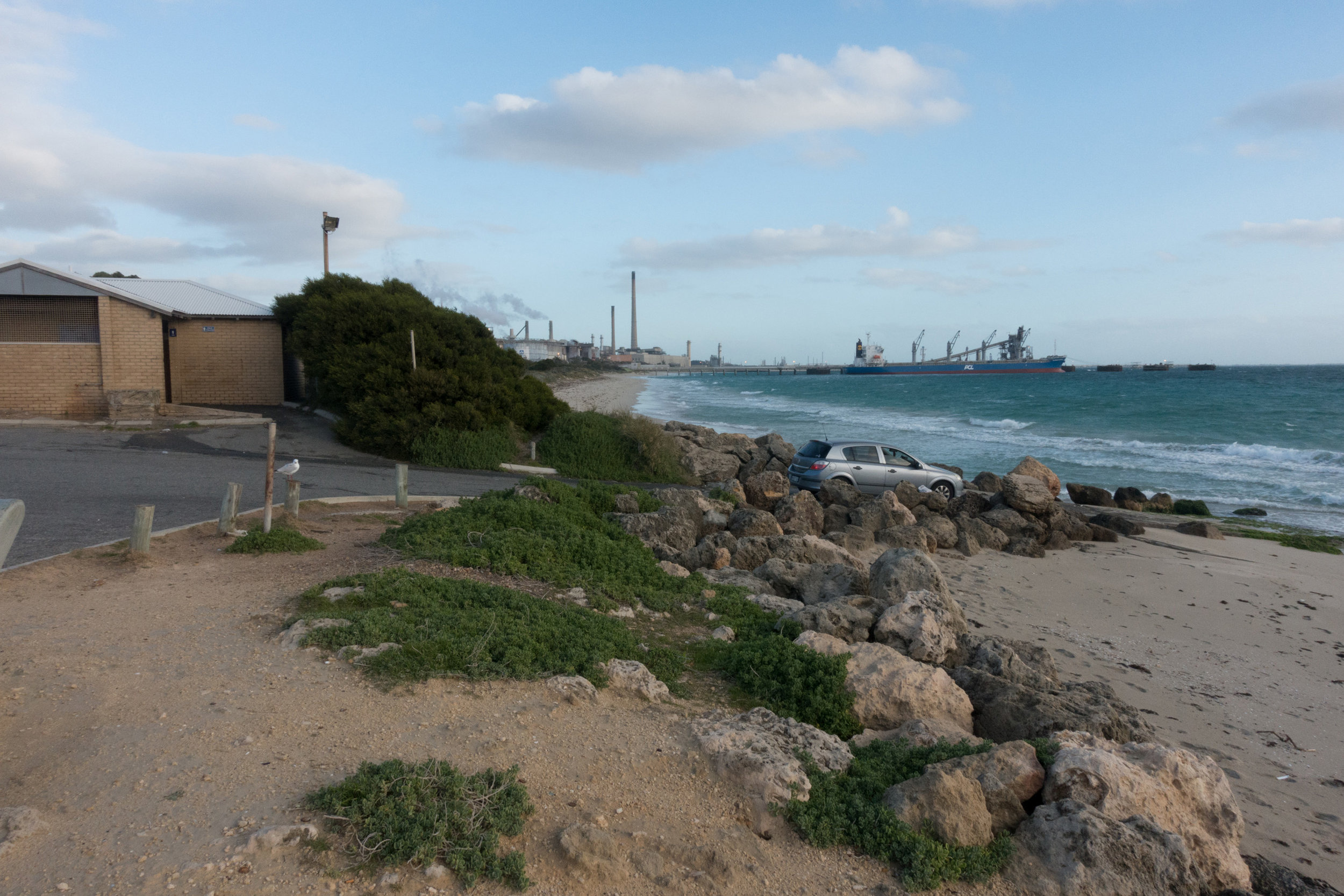 Plate 2: The beach south of Naval Base shacks and the small boat launching ramp