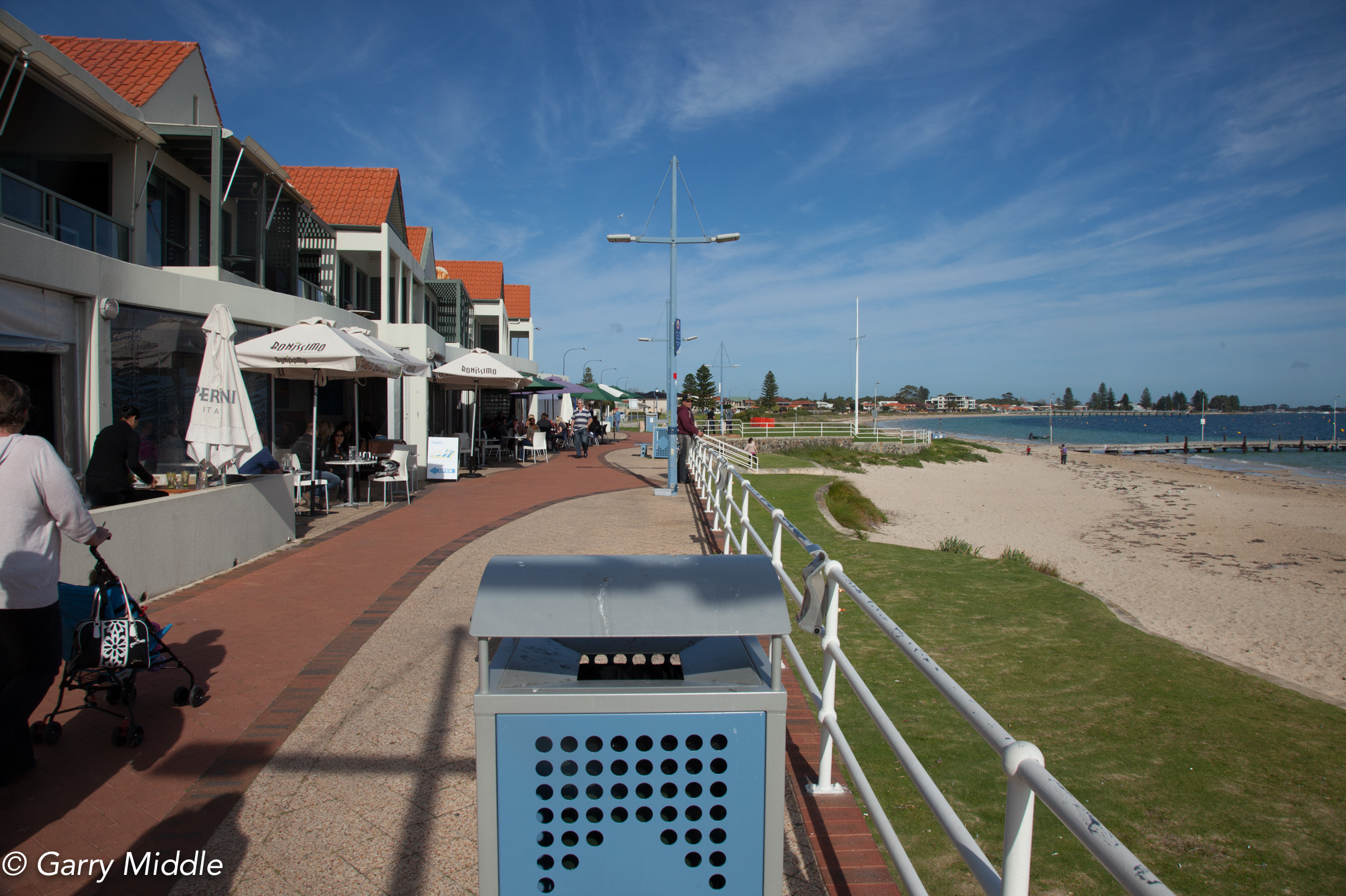 Plate 1: Start of the walk passed the café strip on the foreshore