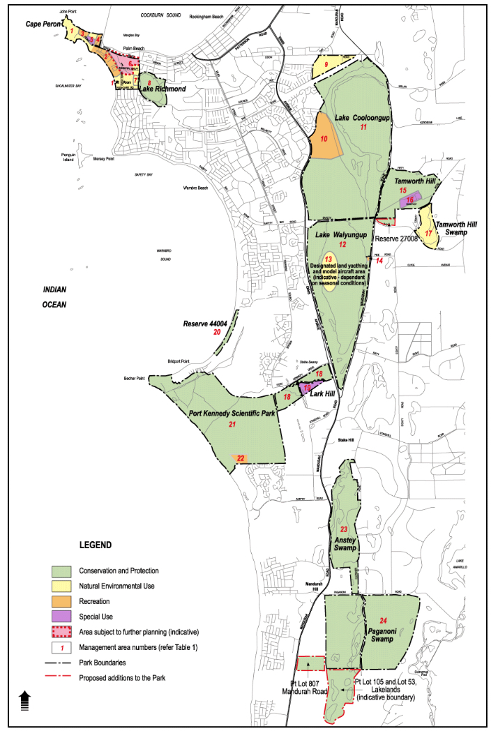 Figure 2: Map showing Rockingham Lakes regional park and the various land use 'zonings'.