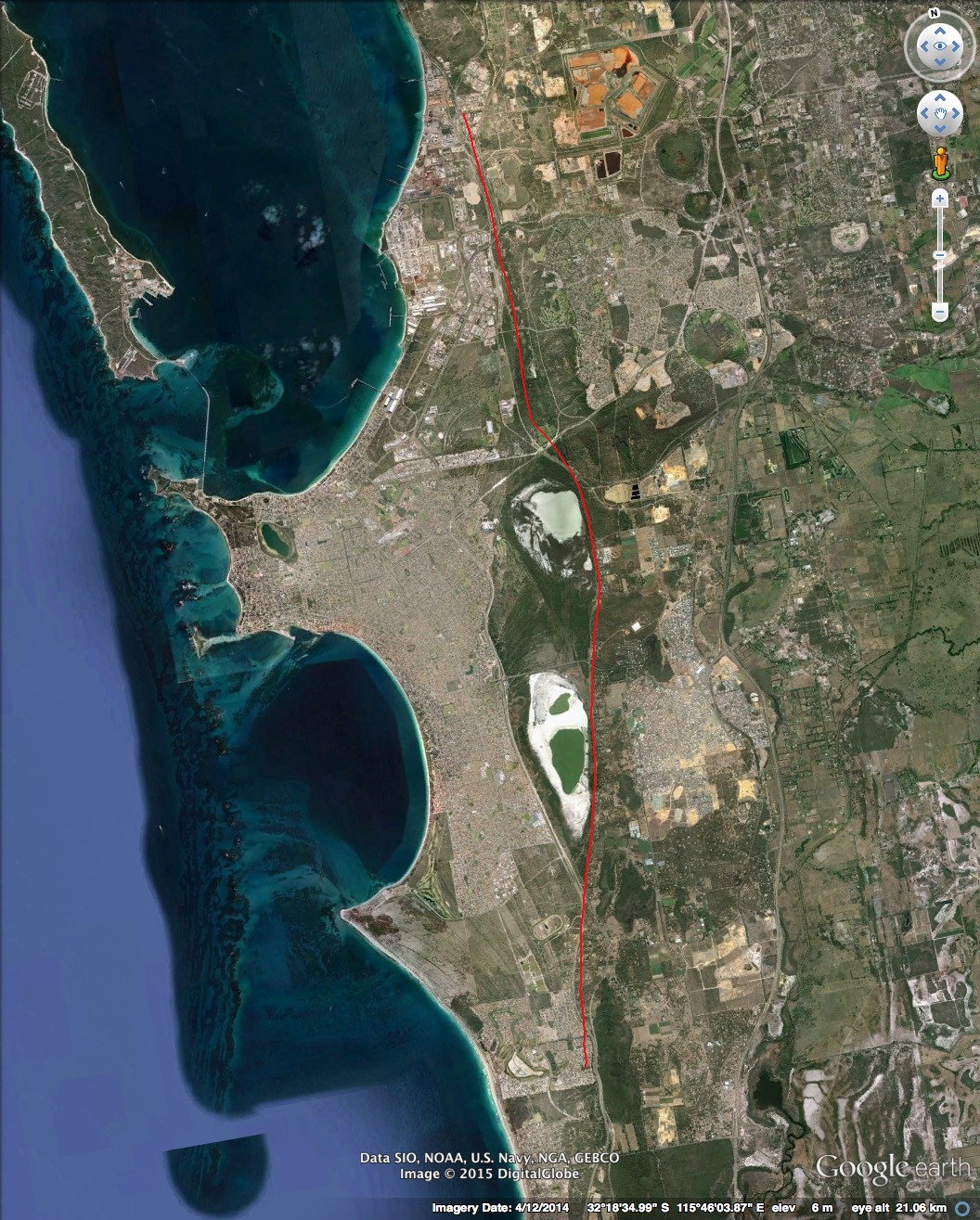 Figure 2: Google Earth image of broader Rockingham area showing the location of the Becher Plain and the approximate location of the coastline prior to the formation of the Plain.