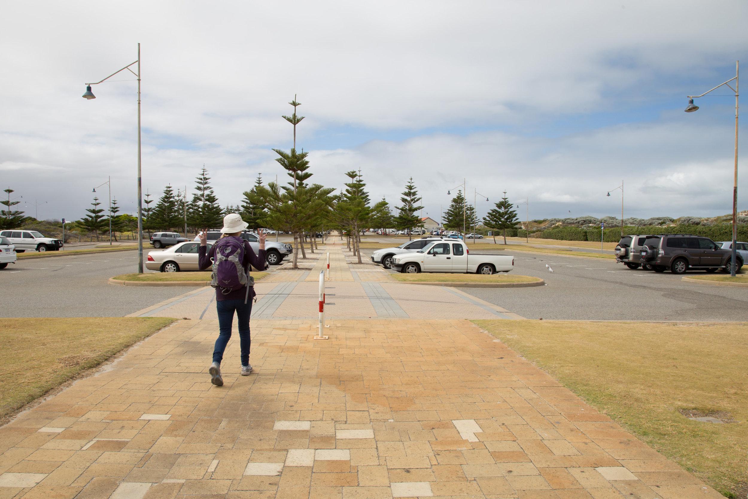Plate 3: Concrete path through the carpark at the main part of Secret Harbour Beach.