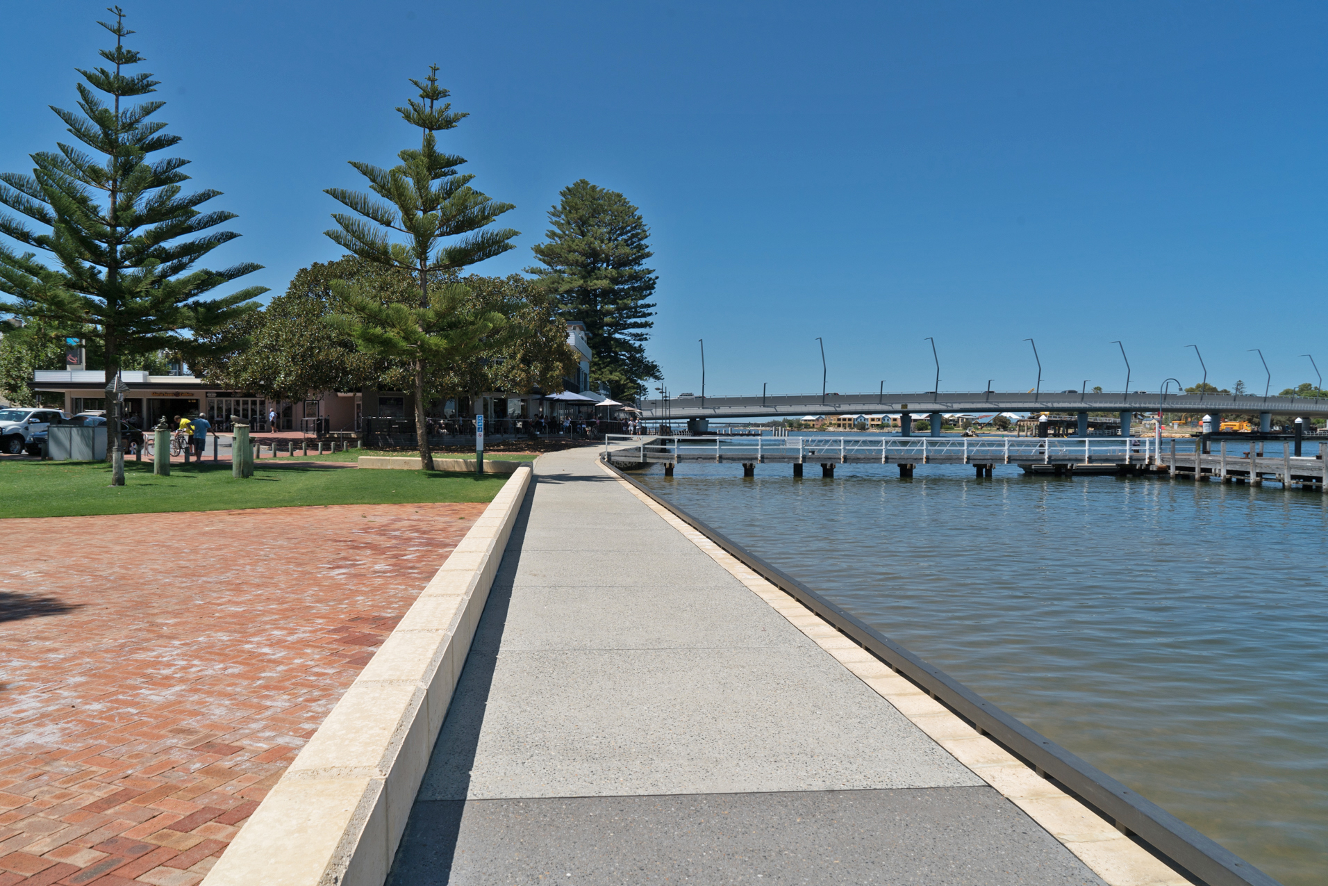 Plate 7: Near the end of the main Mandurah Foreshore, with shopping area/cafes and bridge