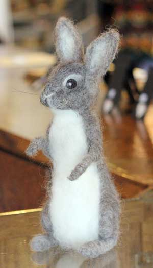 Fiber bunny created by Essex Junction artist, Susi Ryan of the The Felted Gnome Knows.