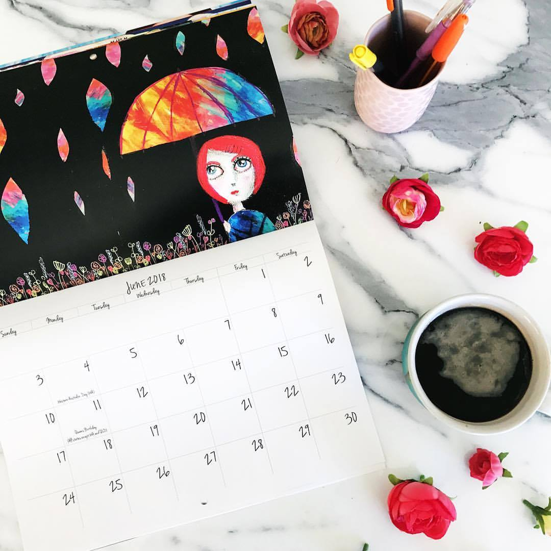 The calendar will again be filled with 12 of my gorgeous and colourful original artworks.