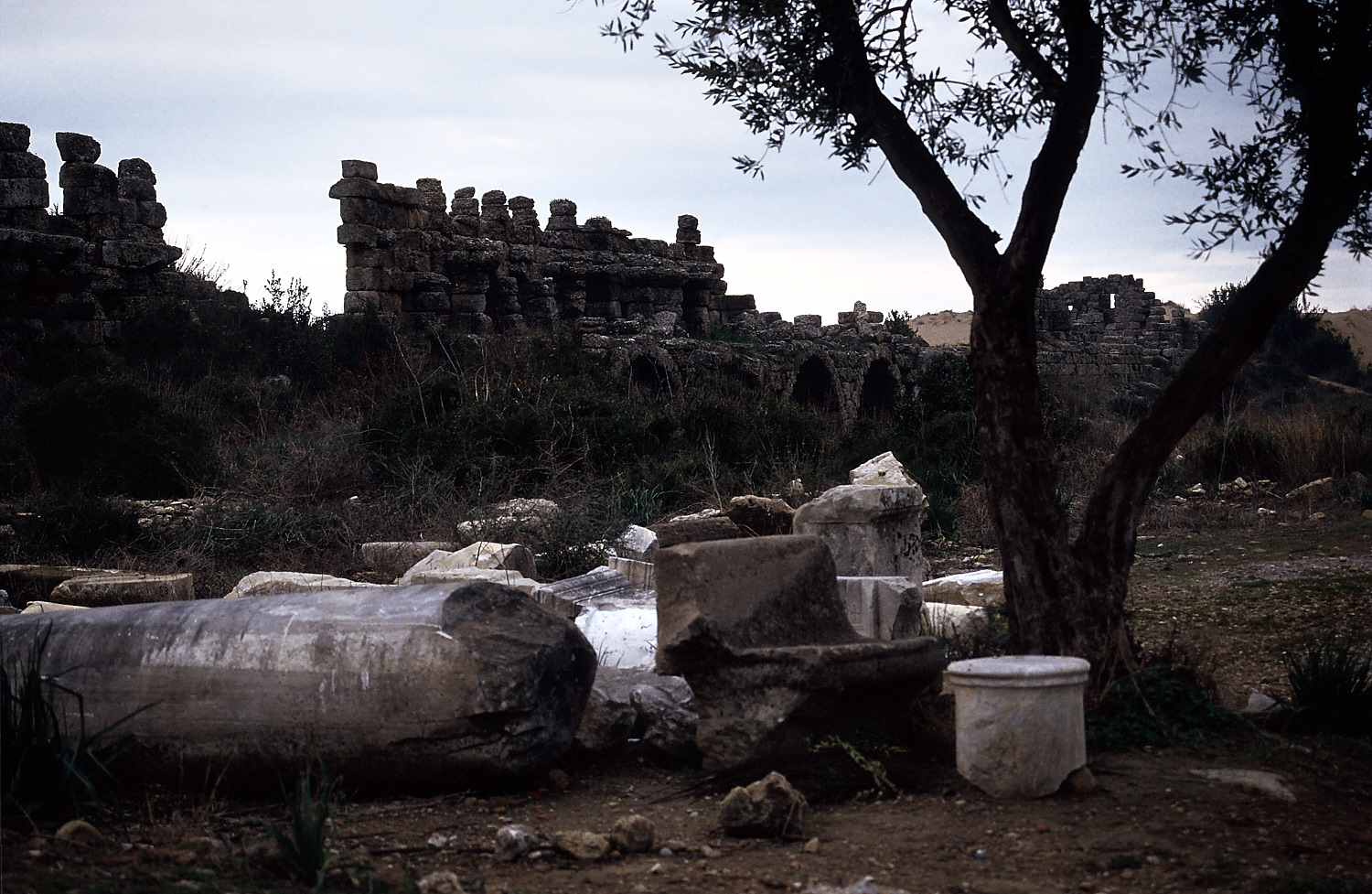 Archaeological remains in Side, Turkey
