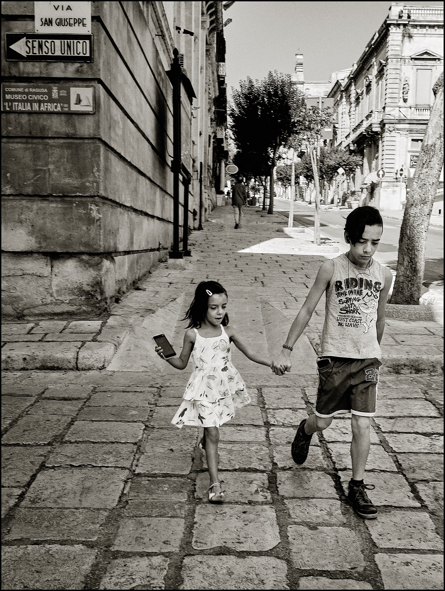 Walking with his sis...