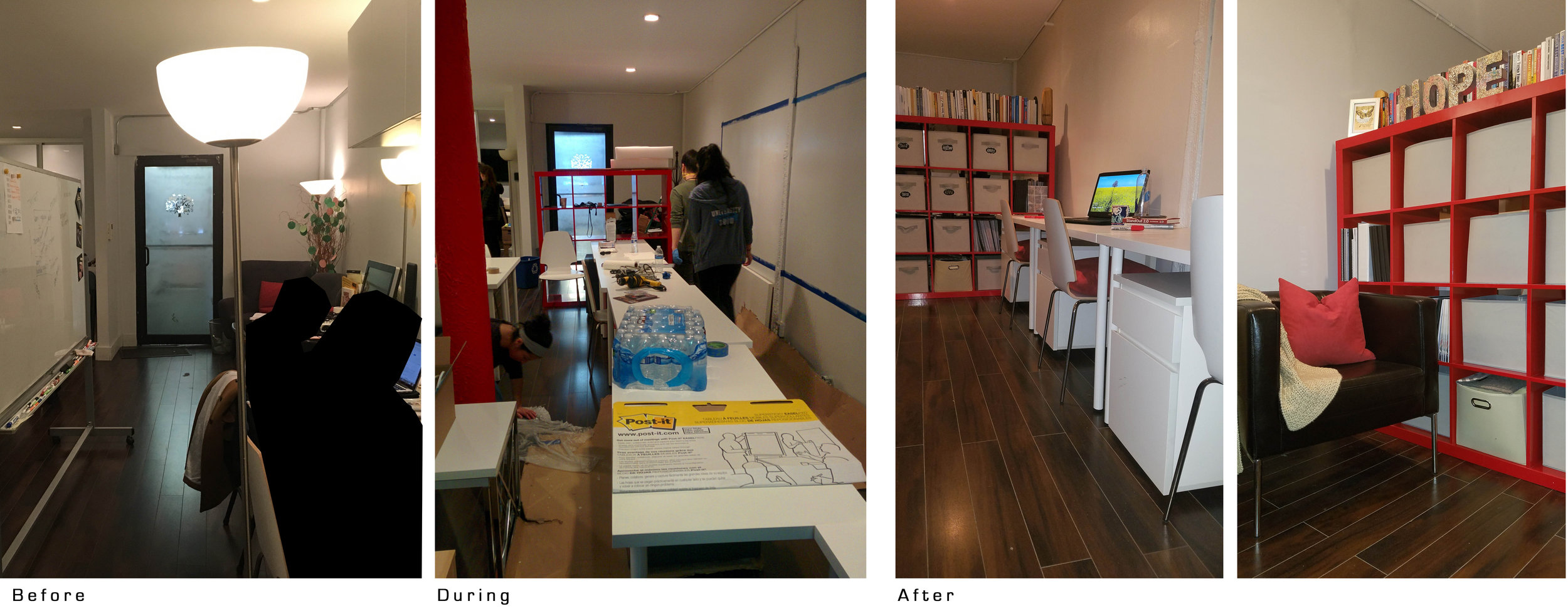 La salle d'attente et l'espace de travail sont maintenant clairement divisés et un tableau blanc a été peint au-dessus de l'espace de travail pour pouvoir prendre des notes.