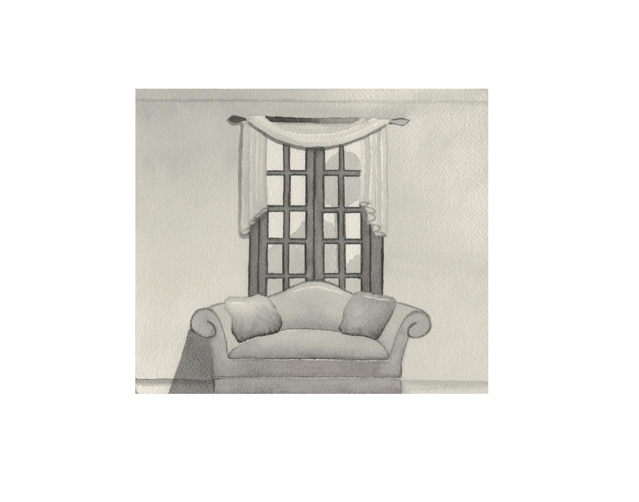 Interior elevation, watercolor