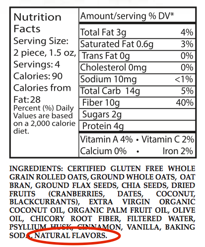 Ingredient Label with Natural Flavor