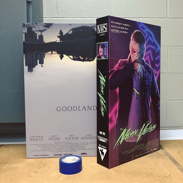 Big thanks to @jjcomotto for producing these giant VHS tape props for our movie's VHS store scene. Check out his show in Atchison on April 5th. Now who's seen either of these bad boys?👀🙋‍♂️ . . . #vhs #neonveins @goodlandmovie #ftl #80s #90s #indiehorror #filmprops #indiefilm #followtheleader #retro @lunchmeatvhs @vhsfreak #horror #🙈🙉🙊