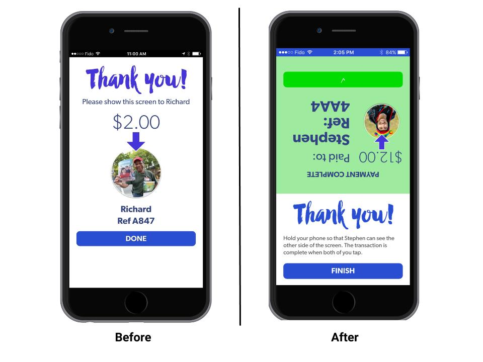 Before and after rendering of the Megaphone Magazine cashless payment mobile application.