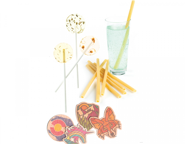 """Amborella Organics lollipops are as eyecatching as they are environmentally friendly. Planners can even work with Amborella to craft co-branding opportunities and custom flavors."""