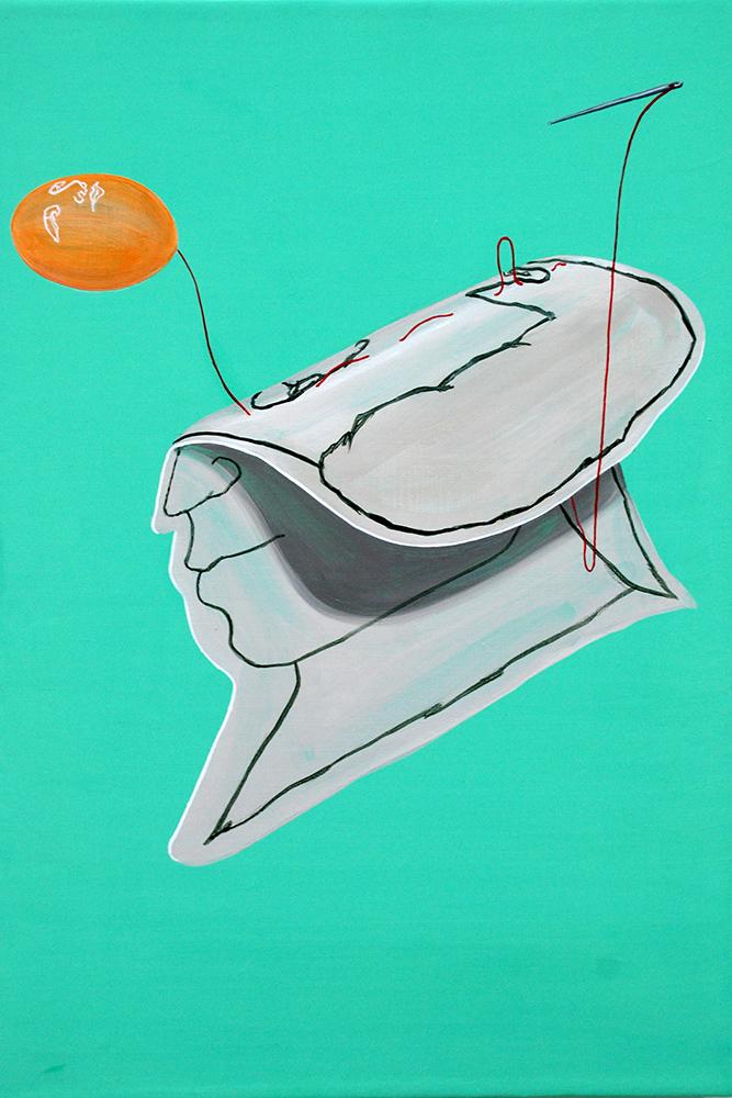 Folded boy     2012, Acrylic on canvas, 41x27cm
