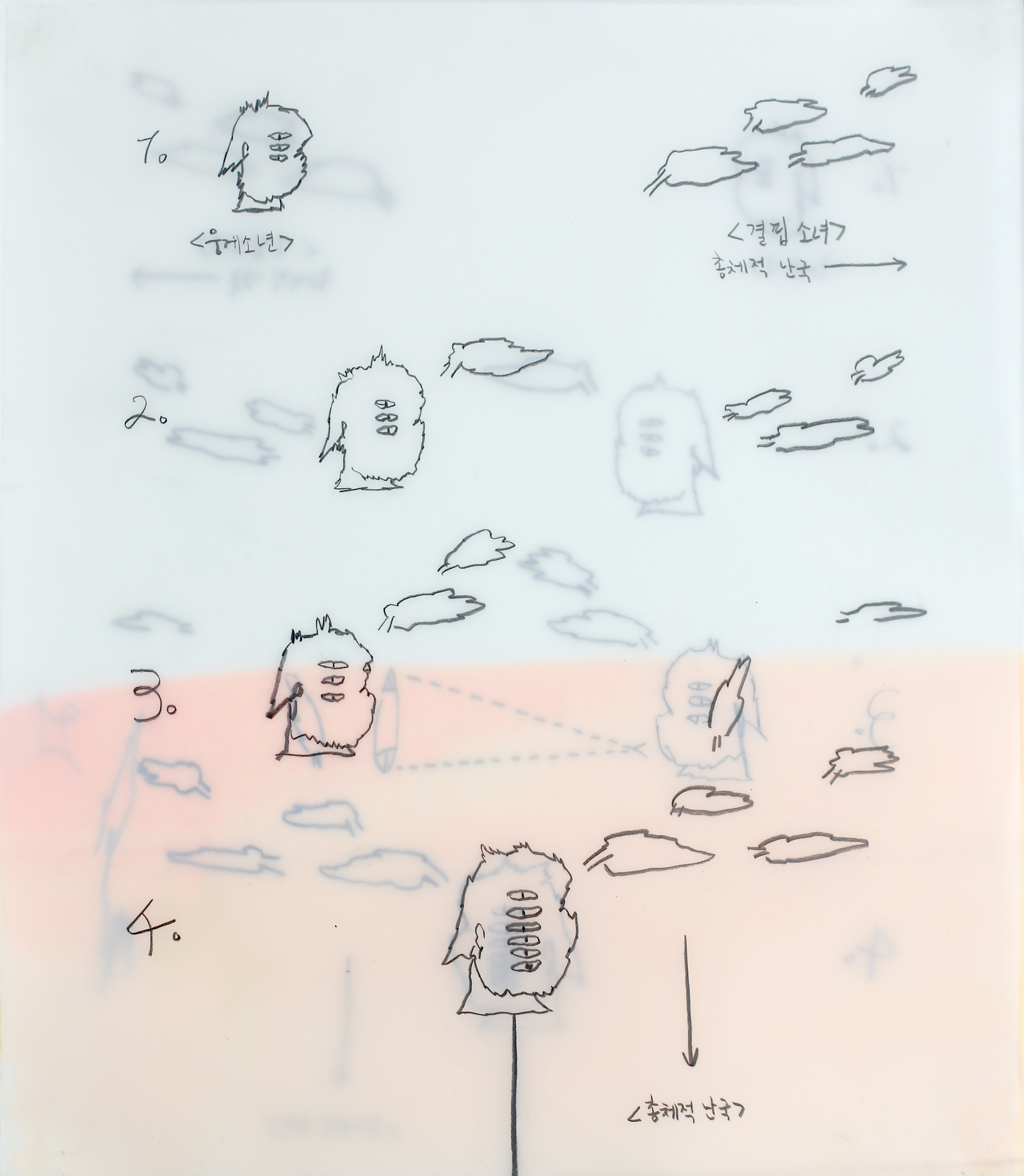 Vulnerable drawing #232 - omnishambles between us    2012, Acrylic, pencil on tracing paper, 25x22cm (3ea)