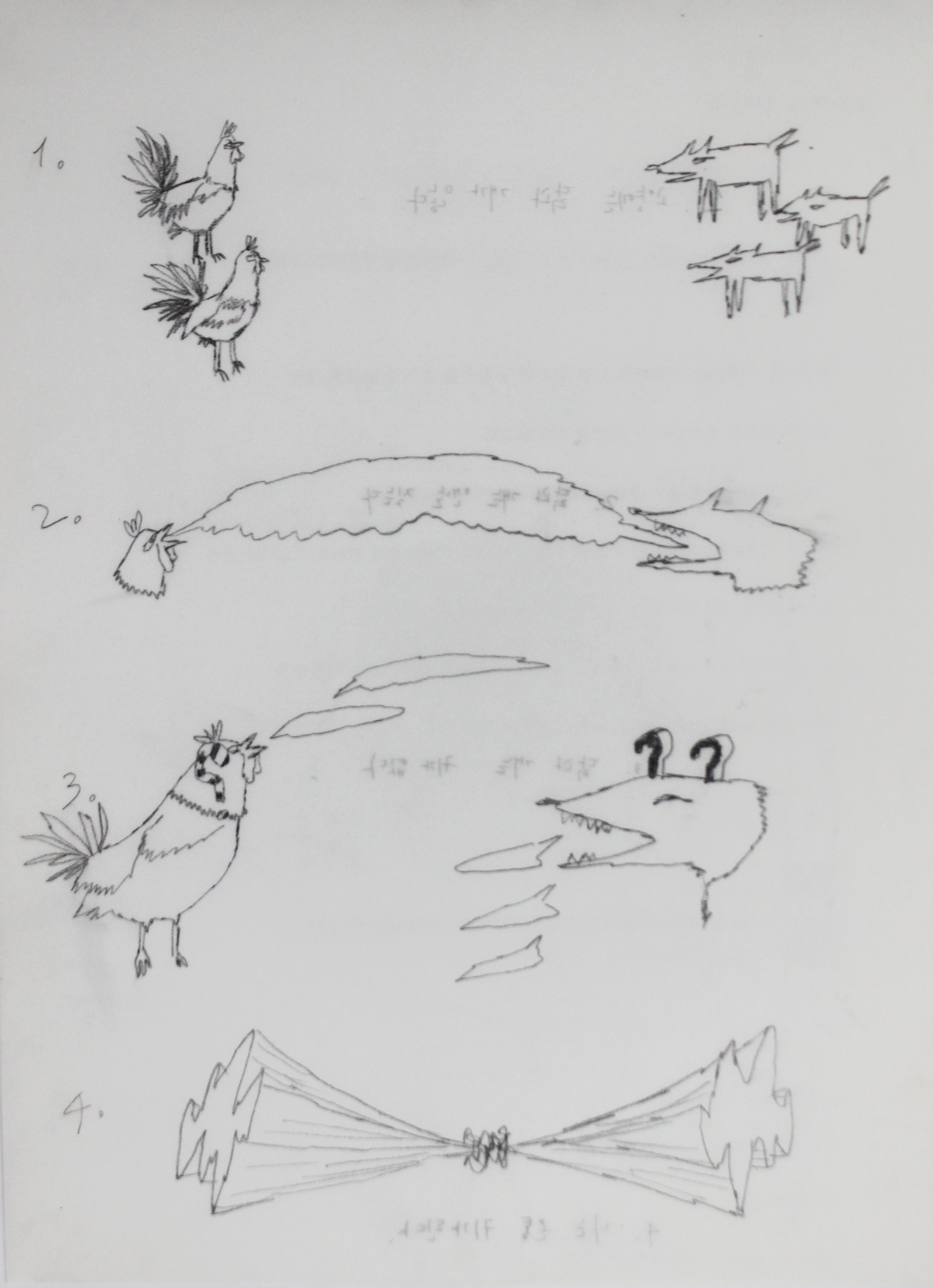 Seductive hens in late 1990 (V/D #189)    2012, Pencil on tracing paper, 30x21cm