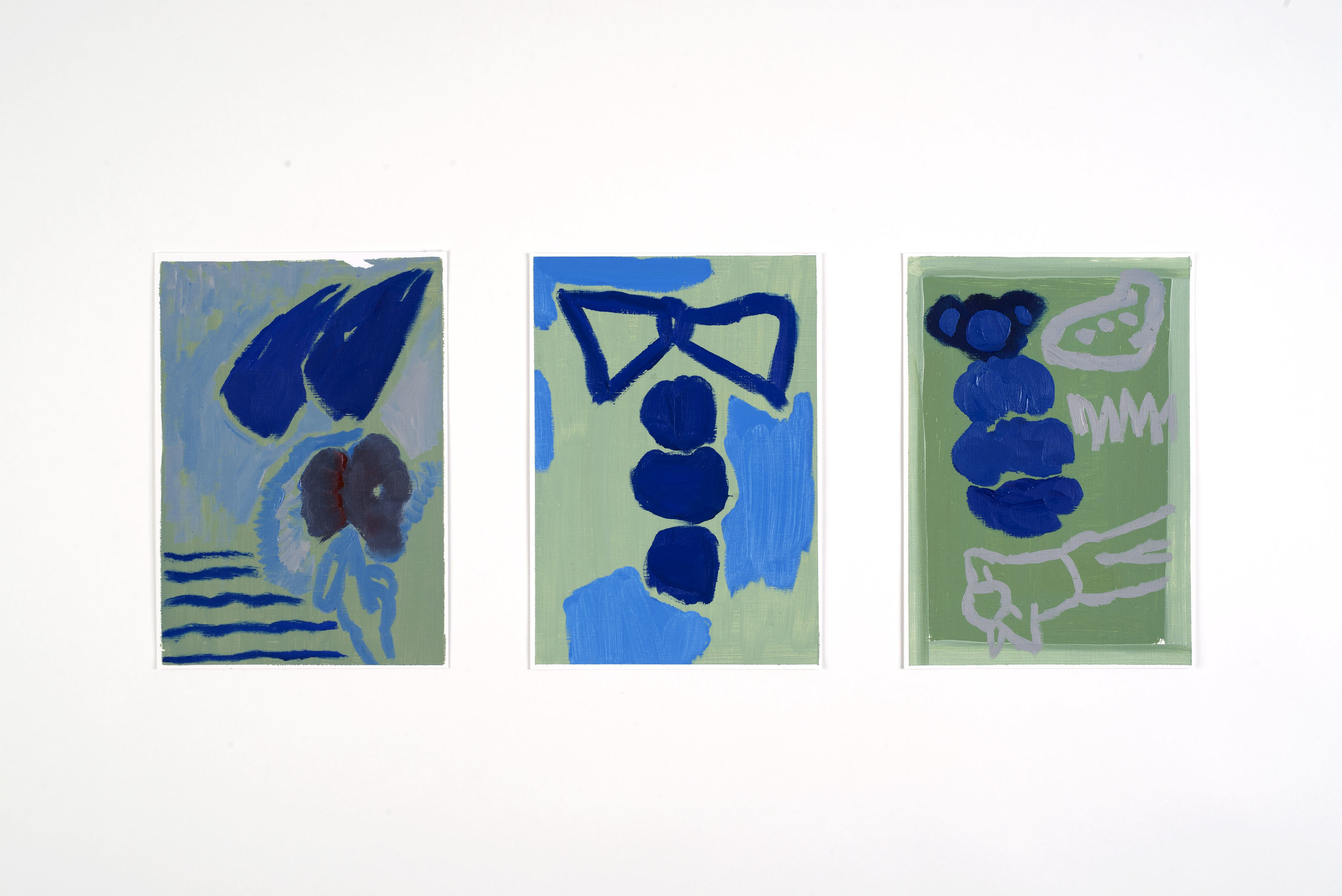 Figures in green, blue, and gray (V/P #41, 42, 43)    2017, Oil on paper, 22.5x18cm (each)