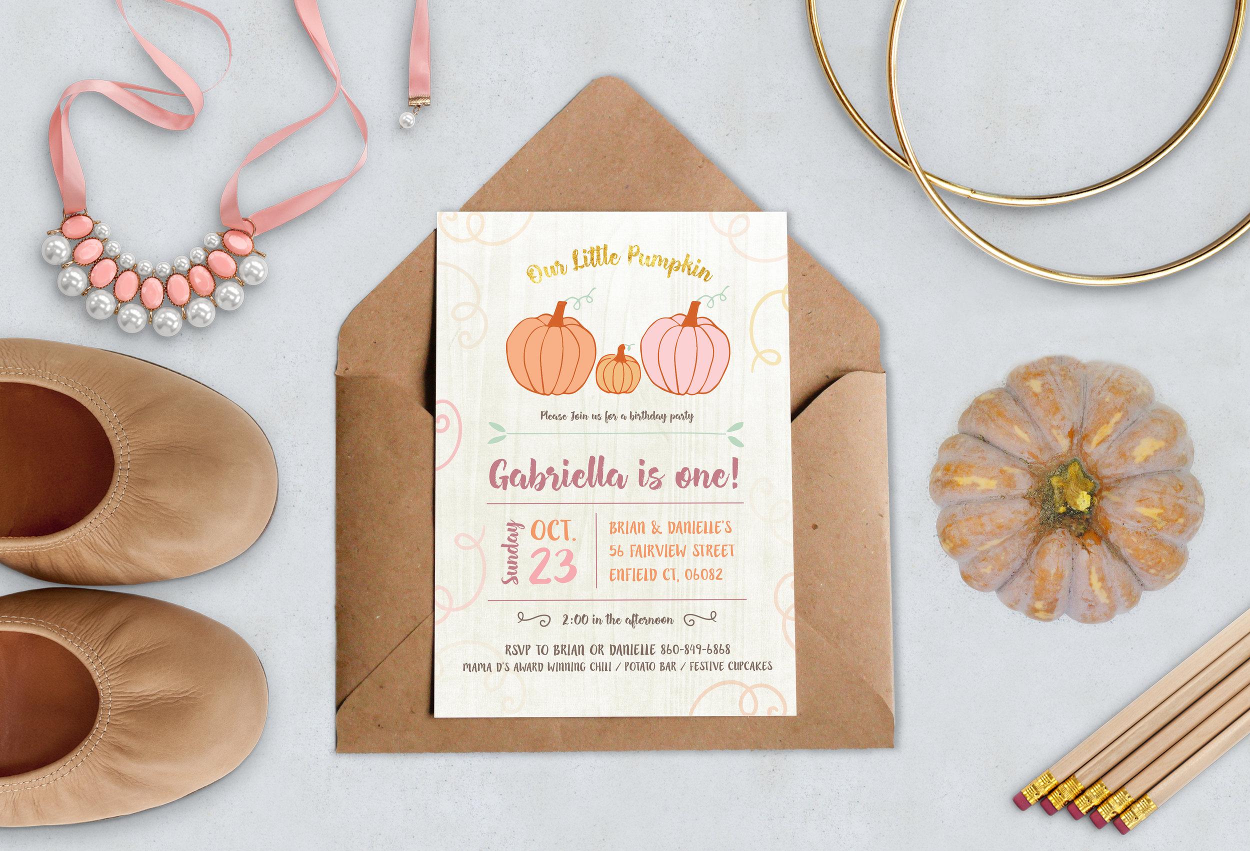Our Little Pumpkin Invitation