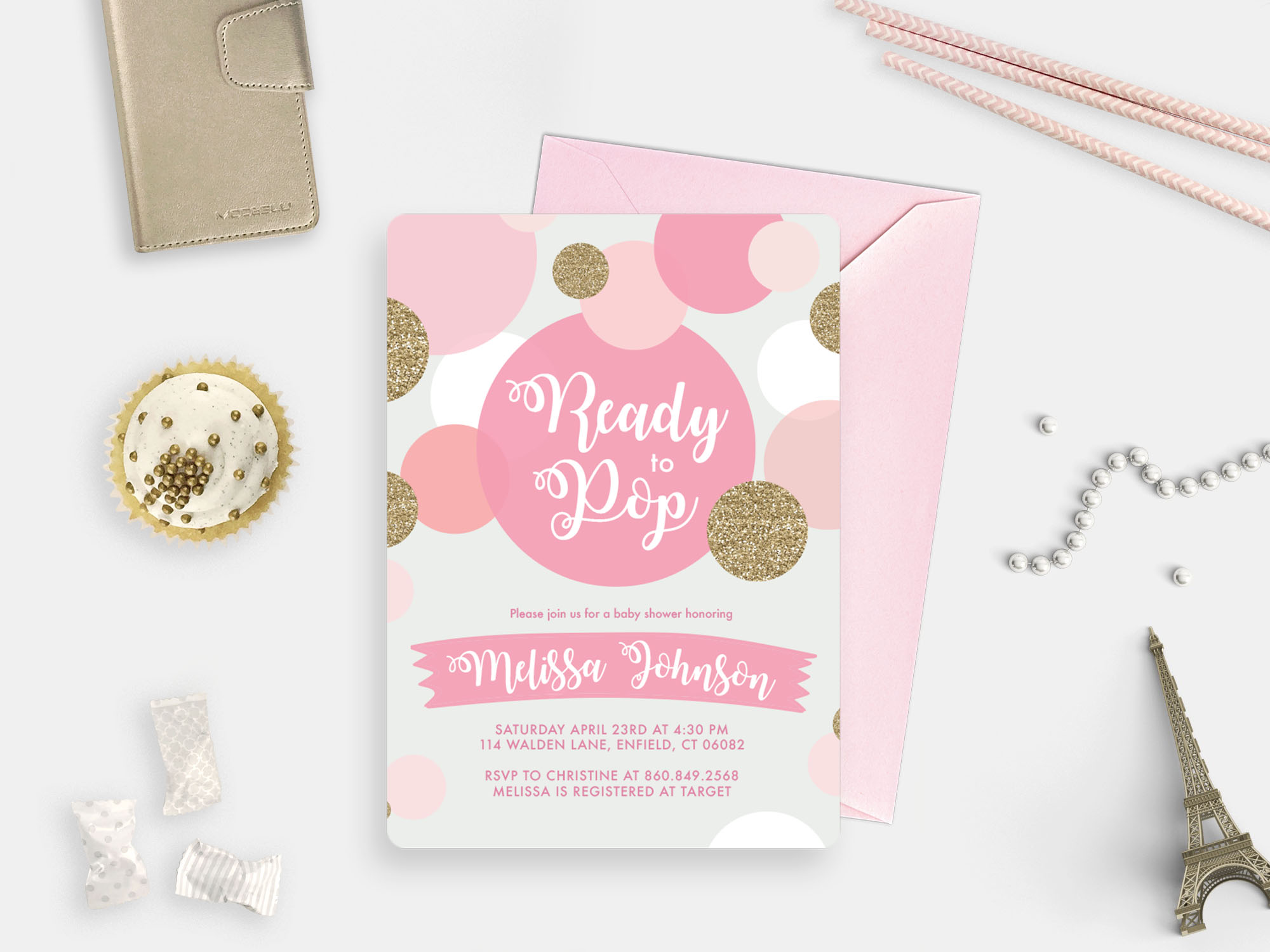 Ready to Pop Pink Girly invitation