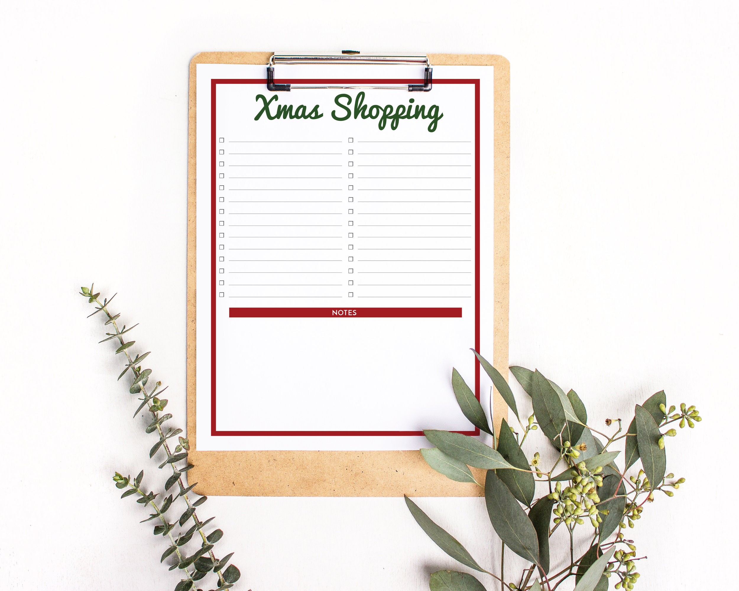 Free Christmas Shopping List Printable