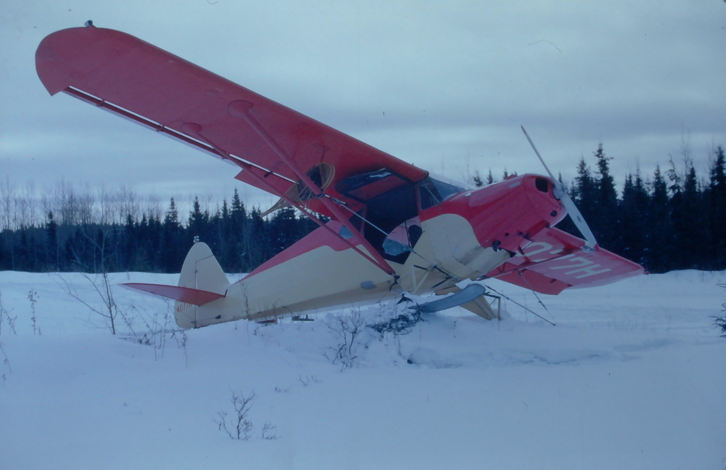 MAC'S PIPER PA-12 AFTER LANDING ON THE ROUGH DAAQUAM AIR STRIP