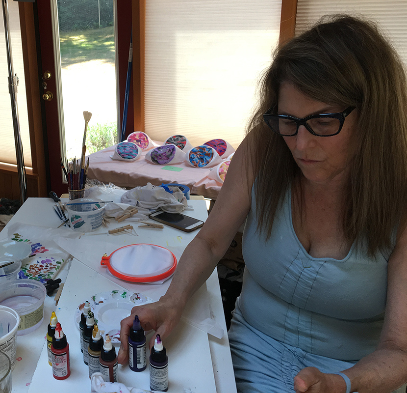 In the Studio - Donna paints in her studio on the Hood Canal with her husband, four dogs and a lot of very tall trees.