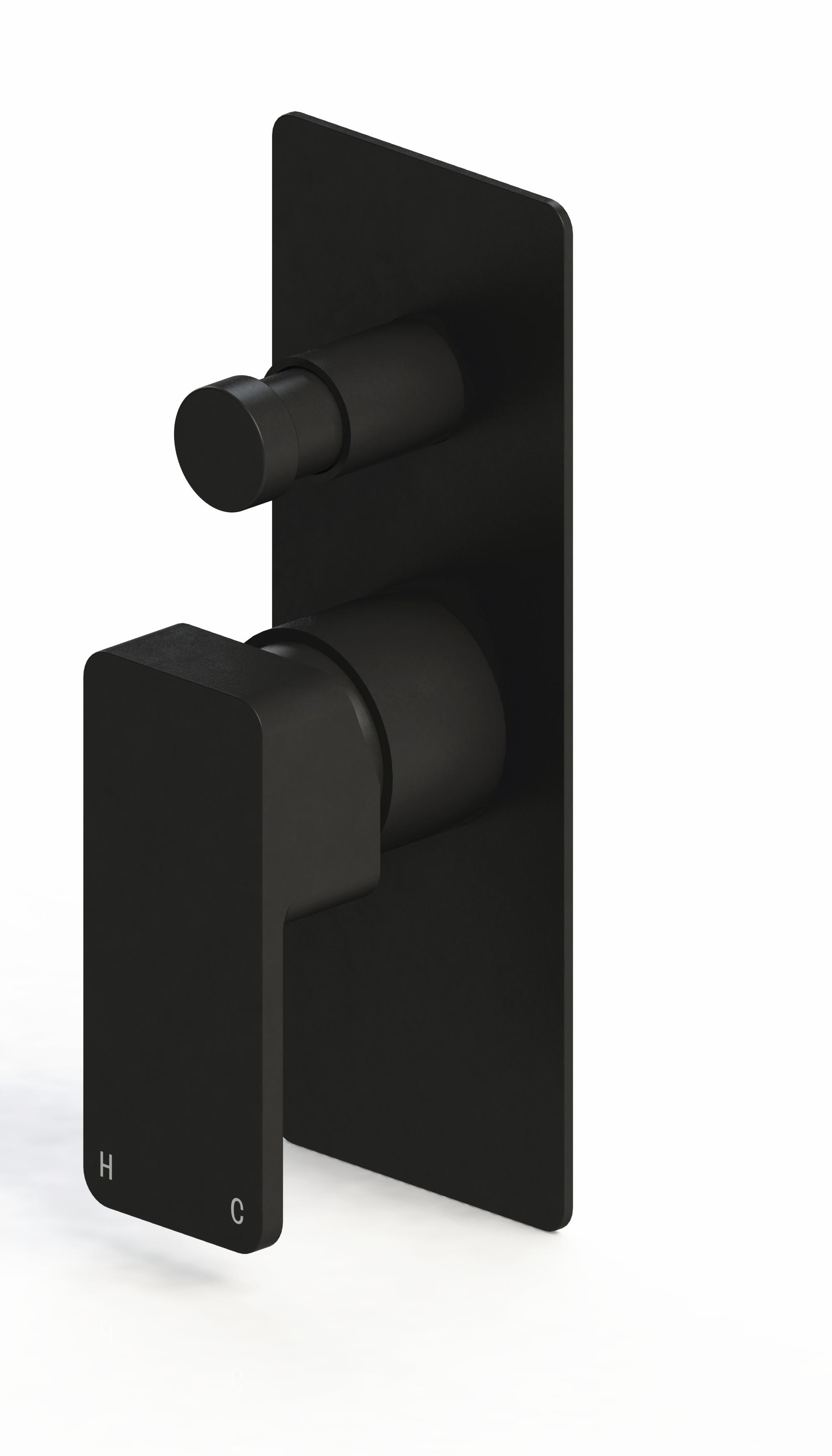 Harmony Rondo Solid Black Wall Diverter Mixer