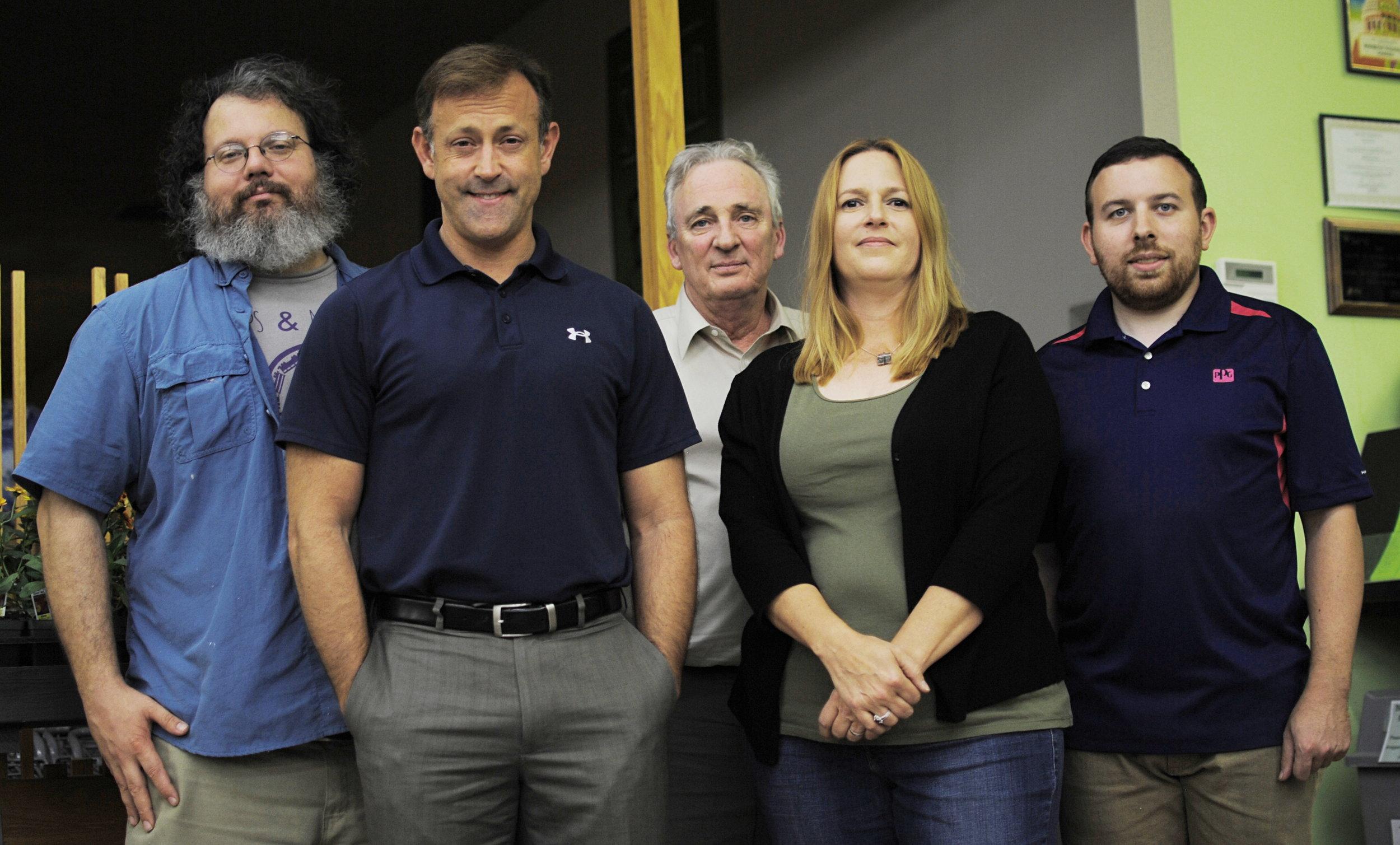 The Mississippi Humanist Association Board of Directors (2017) from left: Patrick Jerome (Communications Officer), Neil Carter (Vice-President), Tom Dennis (Secretary), Kim Gibson (President) and Stephen Frank (Treasurer).