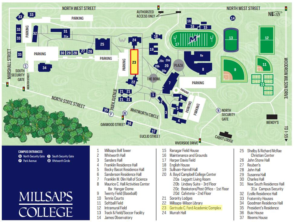 We have attached a map of the Millsaps College campus with the Gertrude Ford Academic Complex highlighted, for your convenience.