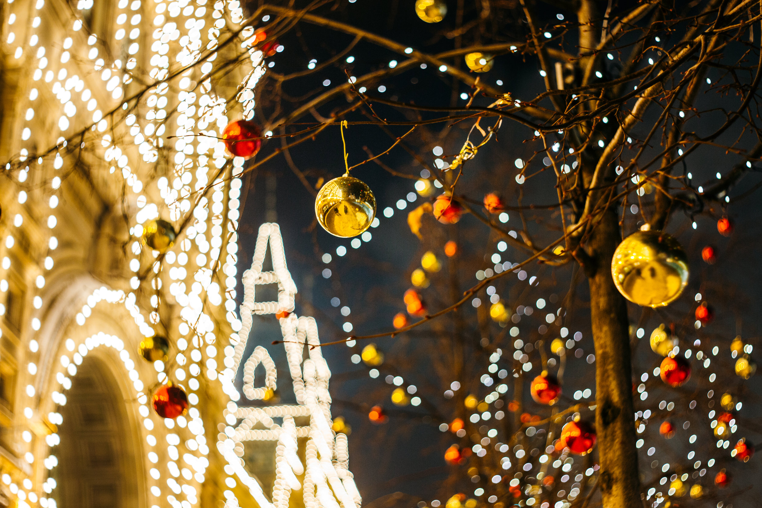 write a good Christmas sermon Backstory Preaching church in lights with ornaments on trees unsplash.jpg