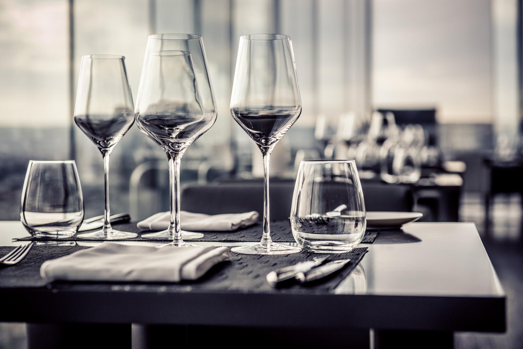 good presentation matters glasses on table